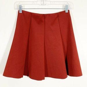 Zara Red Elastic Waist A-Line Mini Skirt Size M